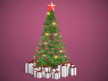 与礼物的美妙地装饰的圣诞树 3d illustrat 库存例证