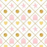 与礼物盒柔和的桃红色金黄颜色的假日背景无缝的样式生日快乐样式 向量例证