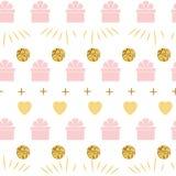 与礼物盒柔和的桃红色金黄颜色的假日背景无缝的生日快乐样式 皇族释放例证