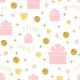 与礼物盒柔和的桃红色金黄颜色的假日背景无缝的生日样式 库存例证