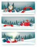 与礼物盒的三副自然风景圣诞节横幅 向量例证