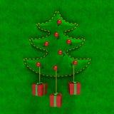 与礼物盒的压印的天鹅绒圣诞树 库存照片