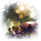 与礼物盒的圣诞夜背景 免版税库存照片