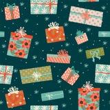 与礼物盒的圣诞节和新年快乐无缝的样式 向量例证