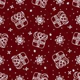 与礼物盒的圣诞节无缝的样式 图库摄影