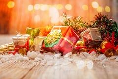 与礼物盒的圣诞节 图库摄影