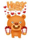 与礼物盒的布朗滑稽的emoji玩具熊 生日贺卡愉快的邀请 库存照片
