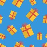 与礼物盒的无缝的样式在蓝色 库存例证