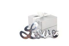与礼物盒的爱 免版税库存图片