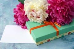 与礼物盒的牡丹花 库存图片