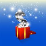 与礼物盒的货币图标 库存图片