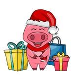 与礼物盒的逗人喜爱的圣诞老人猪、圣诞快乐和新年快乐2019年 库存例证
