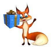 与礼物盒的逗人喜爱的Fox漫画人物 免版税图库摄影