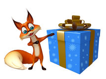 与礼物盒的逗人喜爱的Fox漫画人物 免版税库存图片