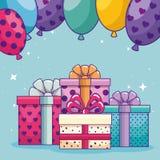 与礼物礼物和气球的生日快乐 库存例证