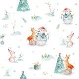 与礼物,雪人,假日逗人喜爱的动物的水彩圣诞快乐无缝的样式欺骗,兔子和猬 皇族释放例证
