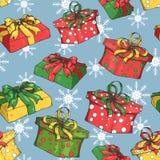 与礼物/giftboxes/Christmass的假日无缝的样式和新年样式 库存例证