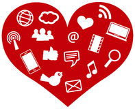 与社会媒体图标例证的红色重点 库存图片