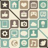 与社会媒体图标的向量无缝的模式 免版税库存图片
