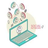 与社会网络的概念性图象 平面 免版税库存照片