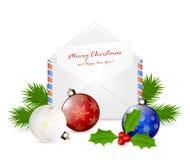 与祝贺的圣诞节信封 免版税库存照片