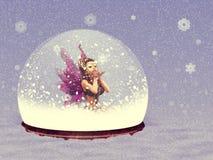 与神仙的雪地球 免版税库存照片