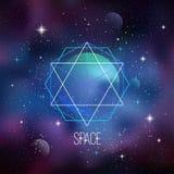 与神圣的几何的空间背景 库存图片