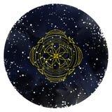 与神圣的几何的装饰品卡片 向量 皇族释放例证