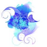 与神圣的几何的装饰品卡片 向量 库存例证