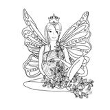 与神仙的怀孕的夫人的成人彩图页 在zentangle样式艺术的怀孕 黑色白色 免版税库存图片