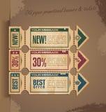 与票的老纸葡萄酒横幅设计 免版税库存照片