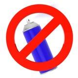 与禁止标志的蓝色喷壶 免版税库存照片