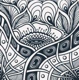 与禅宗缠结或禅宗乱画花纹花样的背景在黑白色 库存照片
