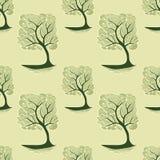 与禅宗缠结树的无缝的样式在绿橄榄 库存例证