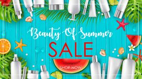 与秀丽和化妆用品背景的夏天销售 库存例证