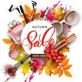 与秋叶、化妆用品和花楸浆果的销售横幅 向量 库存照片