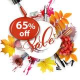 与秋叶、化妆用品和花楸浆果的销售横幅 向量 免版税图库摄影