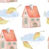 与秋叶、房子、云彩和雨的水彩无缝的样式 免版税库存照片