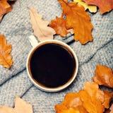 与秋叶和热的咖啡杯的抽象背景 Ye 免版税库存图片