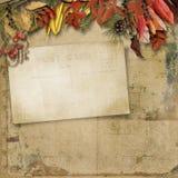 与秋叶和老卡片的葡萄酒背景 库存图片