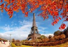 与秋叶的埃佛尔铁塔在巴黎,法国 图库摄影