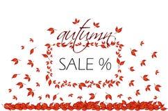 与秋叶的秋天销售,长方形 向量例证