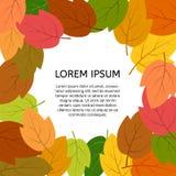 与秋叶的背景与一个地方在中心您的文本 免版税库存照片