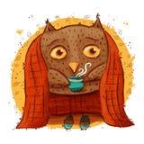 与秋叶的逗人喜爱的猫头鹰 字符猫头鹰,秋天 免版税库存照片