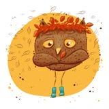 与秋叶的逗人喜爱的猫头鹰 字符猫头鹰,秋天 免版税库存图片
