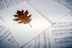 与秋天叶子的便条纸在活页乐谱背景  音乐和秋天的概念 免版税库存图片