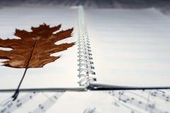 与秋天叶子的便条纸在活页乐谱背景  音乐和秋天的概念 库存照片