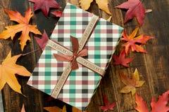 与秋天叶子的美丽的礼物 库存图片