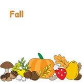 与秋天叶子的背景 果子和蘑菇 向量例证