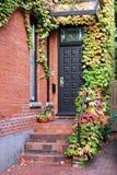 与秋天常春藤的前门 库存照片
